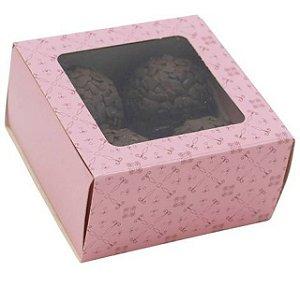 Caixa Rosa Doce Gourmet 4 Doces - Ideia