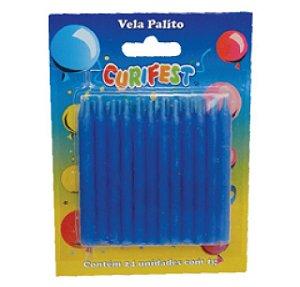 Vela Palito Azul C/ 24 Un.