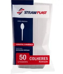 Colher Descartável Refeição 50 unidades -  Strawplast