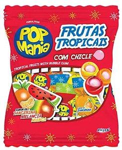 Pirulito Pop Mania Frutas Tropicais Recheio Chiclete c/50 - Riclan