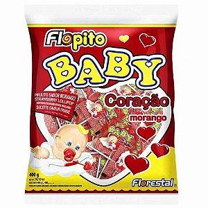 Pirulito Flopito Baby Coração Morango 400g - Florestal