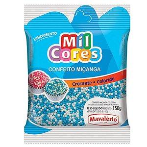 Confeito Crocante de Miçanga Branca/Azul N°0 150g - Mavalério