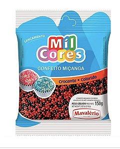 Confeito Crocante de Miçanga Preta/Vermelha N°0 150g - Mavalerio