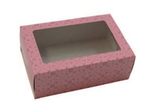 Caixa gaveta visor cor de rosa para 6 doces gourmet (cód. 1009) - Ideia