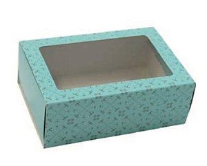 Caixa gaveta com visor azul turquesa (6 doces gourmet) - Ideia