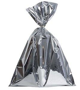 Saco para Presente Prata Metalizado 25cx37cm com 50 unidades - Packpel