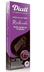 Chocolate diet recheado meio amargo trufado 25g - Diatt