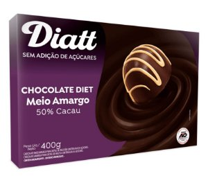 Chocolate diet meio amargo 50% cacau 400g - Diatt