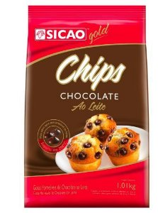 Chips chocolate ao leite gold 1,01kg - Sicao