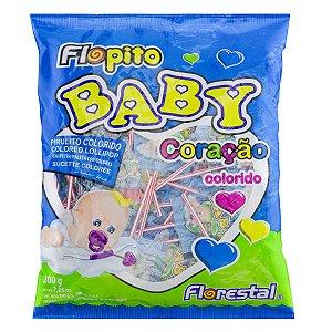 Pirulito Flopito Baby Coração Colorido 200g - Florestal