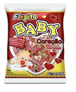 Pirulito Flopito Baby Coração Morango 200g - Florestal