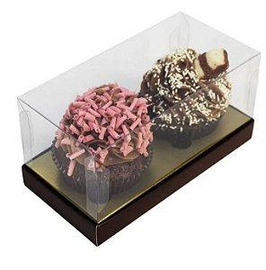 Caixa tampa transparente marrom para 2 cupcakes com 10 unidades (cod. 0857) - Ideia