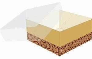 Caixa Tampa Transparente Marsala com Ouro para 4 Doces com 10 Unidades (código 1270) - Ideia