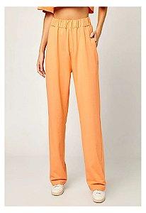 Calça wide leg moletom laranja