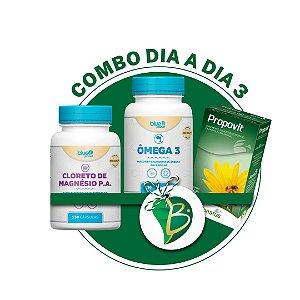 COMBO DIA A DIA 3 - CLORETO DE MAGNÉSIO P.A + ÔMEGA 3 + PROPOVIT