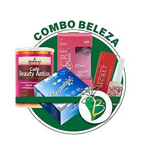 COMBO BELEZA - CAFÉ BEAUTY ANTIOX + CHÁ DREAM TEA + SECRET ESSENCE HSN + BASE FORTALECEODORA DE UNHAS SECRET