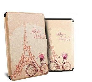 Capa Vintage Couro Kindle Paperwhite Bike Paris + Caneta