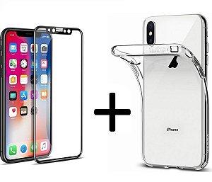 Capa para Iphone + Película 5d Nano Gel /  Xs Xr X 8p 8 7p 7 6p 6