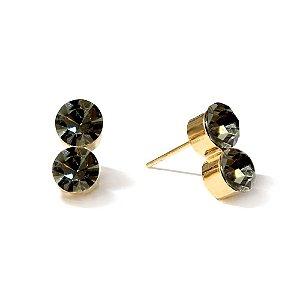 Brinco Ponto de Luz Duplo Black Diamond Dourado