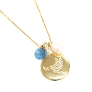 Colar Tayla Jade Azul Dourado