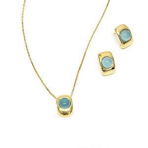 Conjunto Lanna Ágata Azul Céu Dourado