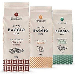 Café Em Pó Baggio - 3 Pacotes - 750g - Chocolate Trufado, Menta e Caramelo, Café Moído Aromatizado