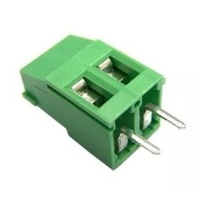 Kit 10 unidades do borne 2 terminais verde - espaçamento de 3,5 mm