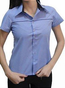 Camisa feminina mangas curtas com vivo