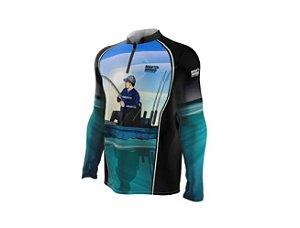 Camiseta Camisa Pesca Proteção Uv50 Mar Negro - Caiqueiro P