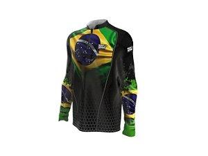 Camiseta Camisa Pesca Proteção Uv50 Mar Negro - Brasil G