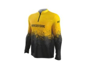 Camiseta Camisa Pesca Proteção Uv50 Mar Negro Amarela Clean P