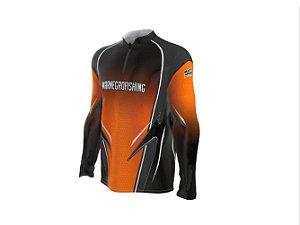 Camiseta Camisa Pesca Proteção Uv50 Mar Negro Laranja Clean M