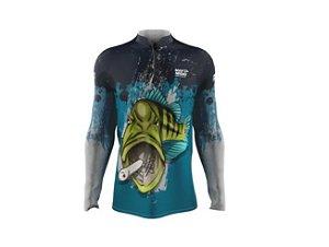 Camiseta Camisa Pesca Proteção Uv50 Mar Negro - Tucunaré Azul GG