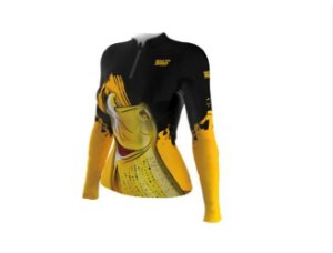 Camiseta Camisa Pesca Proteção Uv50 Mar Negro Fem Dourado GG