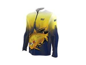 Camiseta Camisa Pesca Proteção Uv50 Mar Negro - Dourado M