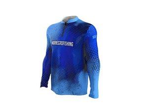 Camiseta Camisa Pesca Proteção Uv50 Mar Negro - Azul Clean GG