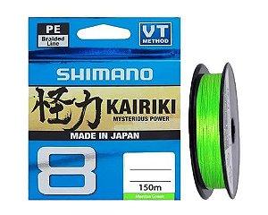 LINHA MULTIFILAMENTO SHIMANO KAIRIKI 8 PE M58RE MTS 30LB 0.23MM X 150M VERDE