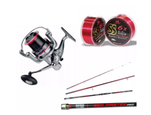 KIT MOLINETE SEA MASTER 5000 + VARA SMP-4203 + LINHA SS STRONG 0,26MM 300M