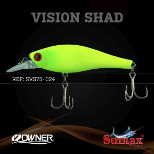 ISCA ARTIFICIAL SUMAX VISION SHAD MATTE SUPER LEMON PEC SVS-75-024