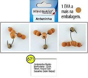 ANTENINHA BARÃO - BORBOLETA - ANZOL 2/0 SASAME - E.V.A 9MM BÓIAS BARÃO