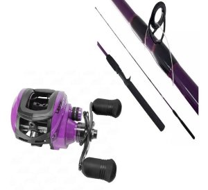KIT PESCA CARRETILHA SAINT PLUS LANCER LADY 10000H DIREITA + VARA SAINT PLUS LANCER LADY 1,68M 7-17LBS