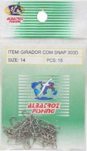 GIRADOR COM SNAP CARTELA ALBATROZ FISHING NICKEL 303D Nº 14 C/ 15 PÇS