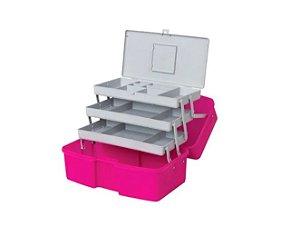 Maleta Caixa Organizadora Fashion 3 Bandejas Polymer 3953x Rosa
