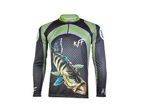 Camisa Camiseta Pesca King Proteção Uv50 Infantil Kff10 Tam 10