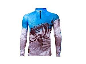 Camisa Camiseta Pesca King Proteção Uv50 Infantil Kff106 Tam 06