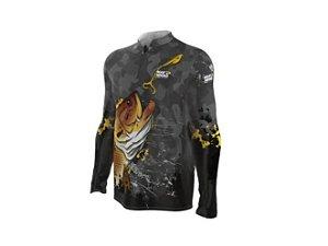 Camiseta Camisa Pesca Proteção Uv50 Mar Negro - Traíra G
