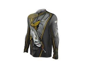 Camiseta Camisa Pesca Proteção Uv50 Mar Negro - Robalo M