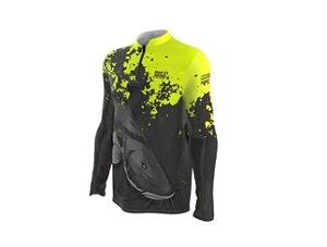 Camiseta Camisa Pesca Proteção Uv50 Mar Negro - Piraiba M
