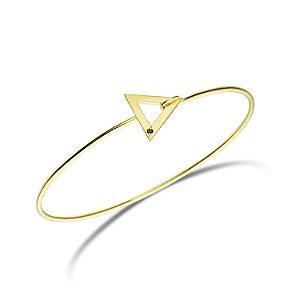 Pulseira Tríade Prata com banho de ouro amarelo e Diamante Negro