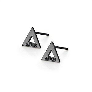 Brinco Triângulo Prata com banho de ródio negro e Diamante Negro - Amor